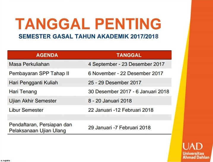 Tanggal Penting Semester Gasal T.A. 2017/2018